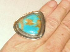 Large Royston Turquoise Ring 23g Sz7 Vtg Southwestern Taxco Sterling By Hector