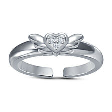Heart Mid Butterfly Style Adjustable Toe Ring 14k White Gold Over Round Cut Cz