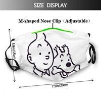 1 Masque de protection tissu coton lavable + avec 2 filtres PM 2.5 TINTIN 3
