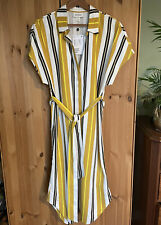 Monki Yellow Striped Hidden Button Tie Waist Midi Dress Size S / 10 / 12