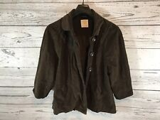Old Navy Womens Brown Corduroy 3/4 Sleeve Full Button Down Jacket Sz XL X-Large