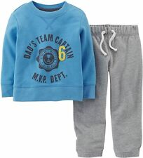 Carter's Baby Boys 2-Piece French Terry Top & Pant Set Blue/Grey Newborn