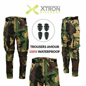 Army Green Black Camouflage Cordura Armoured Waterproof Motorcycle Bike Trousers
