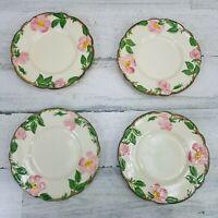 4 Franciscan Earthenware Desert Rose Bread Dessert Pie Plates California USA