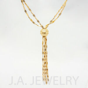 Imperial Gold Vintage Lariat Style 14k Yellow Gold Necklace 8.53g Non Sliding