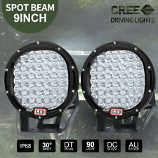 Pair 9 inch CREE LED SPOT Driving Lights 4X4 Round Spotlights Black 12V 99999W