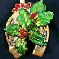 Lucky Horseshoe Ornament Poland  Gold with Green Holly Red Berries 5 inch