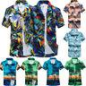 Summer Men's Hawaiian Print Short T-Shirt Beach Quick Dry Blouse Top Blouse AU