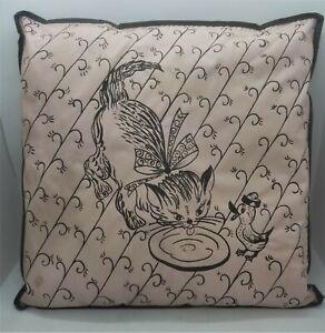 RARE Pal Novelty 1950's Vinyl Pillow Kitten Lapping Milk Duck Pastel Pink Black