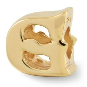 Letter G Bead Charm in 14k Yellow Gold Plated Sterling Silver