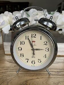 Five Rams Clock Alarm Metal Ticks Vintage Retro Rare