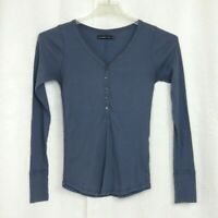Abercrombie & Fitch Medium V Neck Button Down Ribbed Long Sleeve Shirt Med M
