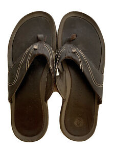 Ocean minded Men's Leather Thong Slippers Brown 14