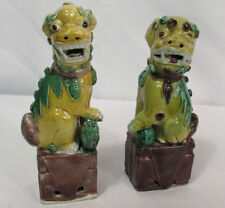 "Pair Antique Chinese Porcelain Foo Dog Lion 6"" Statues"
