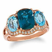 Levian 14K Oro Rosa Cojín Corte Topacio Azul Londres Y 1/3 anillo de diamantes Halo Cttw