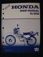 XL125S Honda 1985 XL 125 S  BRAND NEW Factory Service Shop Repair Manual