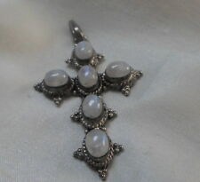 STERLING SILVER CROSS WITH MOONSTONES