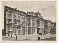 1888 Il palazzo Carignano a Torino xilografia