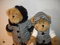 "Bears Stuffed Plush Animals 17"" Black White Houndstooth His Hers Bears TS 2007"