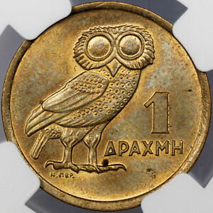 1973 GREECE ATHENIAN OWL 1 DRACHMA REPUBLIC NGC MS65 ONLY 12 GRADED HIGHER