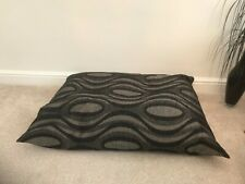 Floor Cushion Filled Black & Grey Retro Large 3 cubic ft Size upholstery grade