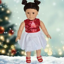 Red and White Party Dress with Shoes for 18 inch Doll (fits American Girl) #05
