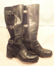 ECCO Tall 3 Buckle Boots Black Leather & Suede Side Zip -EU 37 US 7