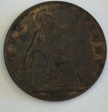 1900 Great Britain One Penny Victoria Dei Gra Britt Regina Fid Dif Ind Imp