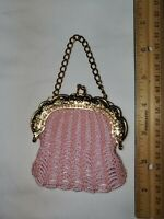 TINY GLASS BEAD HANGING PURSE nice for FRENCH FASHION GERMAN ANTIQUE BISQUE DOLL