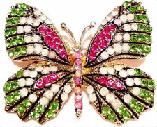 High End BUTTERFLY BROOCH Vintage Style ENAMEL Rhinestone Collector Pink Green