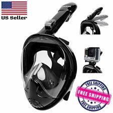 New listing Full-Face Snorkeling Free-Diving Mask Anti-Fog 180 Degrees Camera Mount - Black