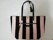 Victoria's Secret Canvas Duffle Beach Tote Bag Pink Black Stripe