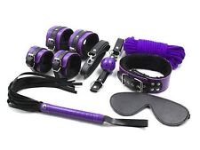 Purple Gear Harness Fur Restraint Fancy wrist cuff Collar Whip Ball Gags Mask