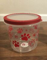 BPA-Free Plastic Airtight Cat and Dog Pet Treat & Food Storage Container, red