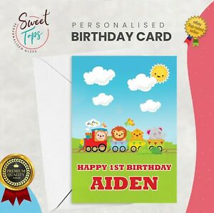 PERSONALISED A5 BIRTHDAY CARD KIDS TRAIN THEME | ANY NAME | AGE