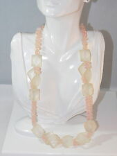 """Chunky Frosted Faceted Lucite Pink Frosted Opaline Glass Bead 24"""" Necklace 3b 34"""