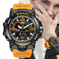 Mens Army Watch Digital Analog Outdoor Quartz Watches 12/24H Dual Movement Sport