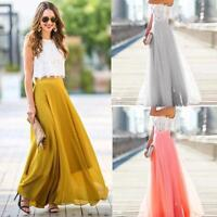 Women Chiffon Stretch High Waist Maxi Dress Skater Flared Pleated Long Skirt
