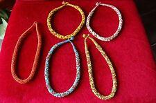 Lote de 5 Collares contorno de cuello en perlas cuentas de diferentes colores 47