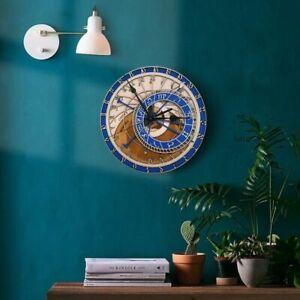 Wall Clock Astronomical Wooden Prague Czech Watch Handcrafted Decor Large Home V