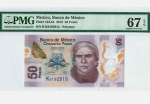 2012 MEXICO 50 Pesos PMG67 EPQ SUPERB GEM UNC【P-123Ab】 'Polymer' Serie B