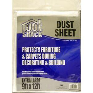 Multi Purpose Plastic Dust Sheet Decorating Cover Furniture Waterproof 9' x 12'