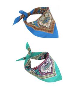 1 SET 100% COTTON BEAUTIFUL BLUE & TEAL FLORAL PAISLEY 22X22 INCH BANDANA 6004