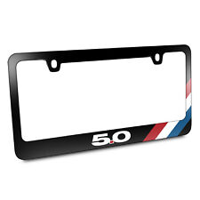 Ford Mustang GT 5.0 Tri-Bar Stripe Black Metal License Plate Frame