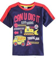 Boys Digger & Tractor T Shirt - Age 18 24 2 3 4 5 Yrs Kids New Top Clothes BNWT