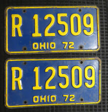 Pair 1972 Ohio License Plates VINTAGE! Crafts! Collectible!! FREE SHIP!!