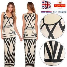 UK Women Casual Bodycon Sleeveless Choker Neck Party Cocktail Long Maxi Dress