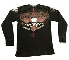 Men's Affliction American Customs Skull Long Sleeve Shirt Sz XL Thermal EUC