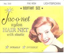 Jac O Net 255 Nylon Hair Net Bouffant SIZE with Elastic Fine Mesh lightbrown