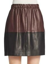 Vince Black Shiraz Wine Red Colorblock Leather Skirt $595 NWT S